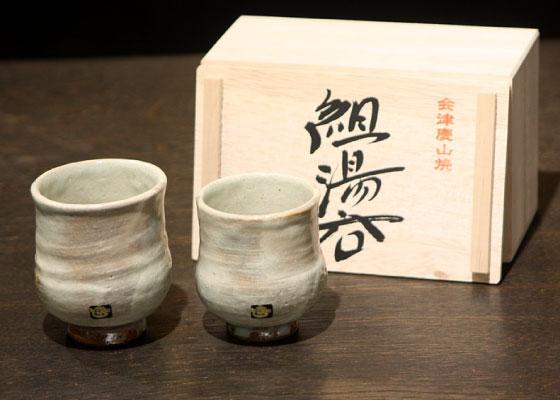 会津慶山焼の木箱入り夫婦湯呑です。 ※定価7560円(税込)