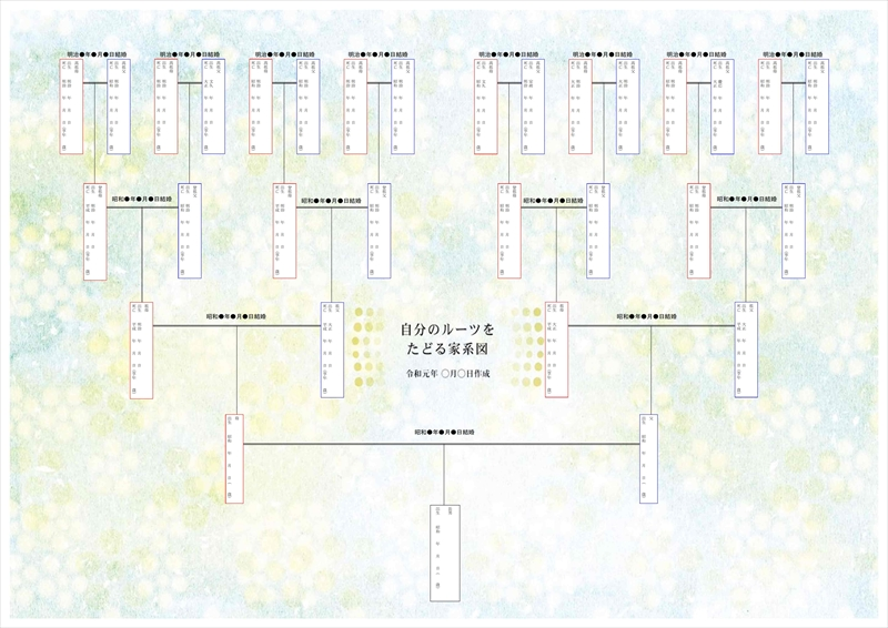 自分のルーツをたどる家系図イメージが完成しました。
